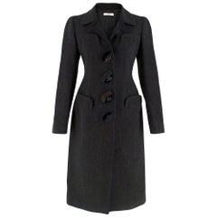Prada Black Flower Patch Pocket Wool Coat XXS 38