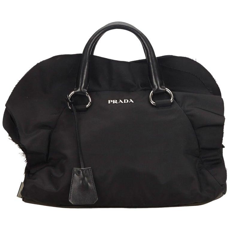 916735a8c528 Prada Black Frilled Nylon Handbag at 1stdibs