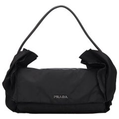 Prada Black Frilled Nylon Handbag