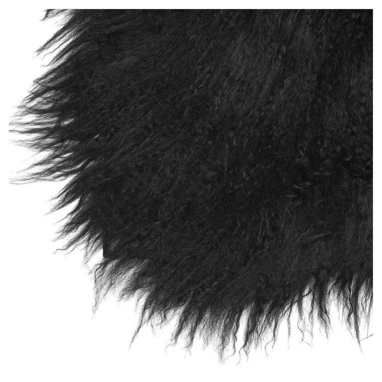 Prada Black Fur & Leather Rug In New Condition For Sale In Brooklyn, NY