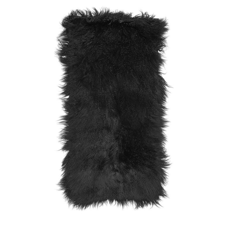 Women's or Men's Prada Black Fur & Leather Rug For Sale