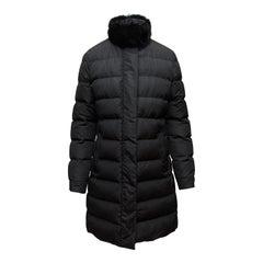 Prada Black Fur-Trimmed Puffer Coat