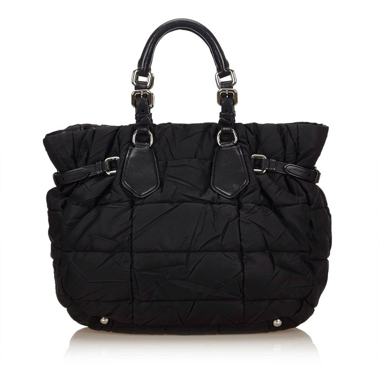 Prada Black Gathered Nylon 2 Way Bag In Good Condition For Sale In Orlando, FL