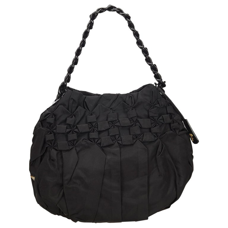 c12f633bf5454e Prada Black Gathered Nylon Chain Shoulder Bag at 1stdibs
