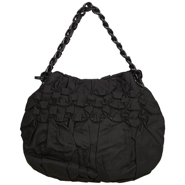 776f3c562587 Prada Black Gathered Nylon Chain Shoulder Bag at 1stdibs