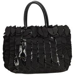 Prada Black Gathered Nylon Tote Bag