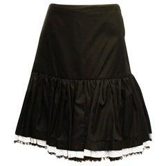 Prada Black Gathered Skirt with Ruffle Hem with White Lace Trim