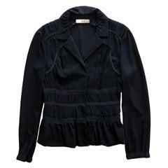 Prada Black Gathered Waist Peplum Blazer