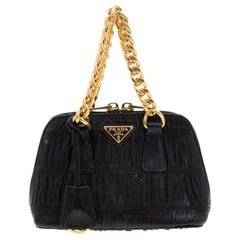 Prada Black Gaufre Leather Mini Promenade Crossbody Bag