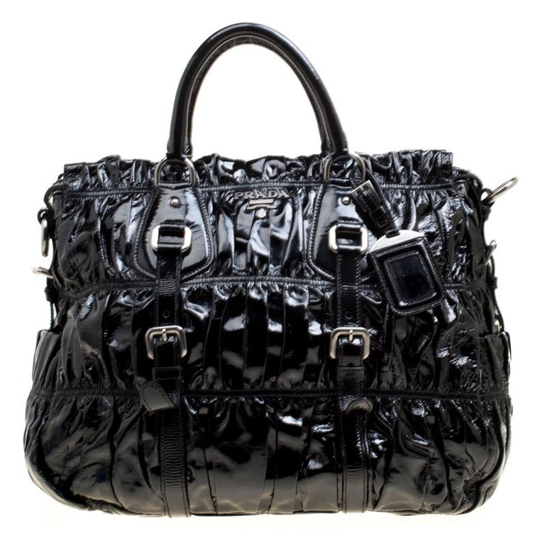 8355d5fcef8877 Prada Black Gaufre Patent Leather Tote For Sale at 1stdibs