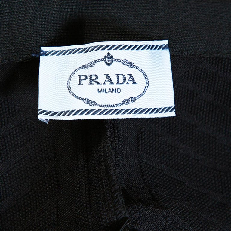 Prada Black Geometric Motif Technical Leggings M For Sale 3