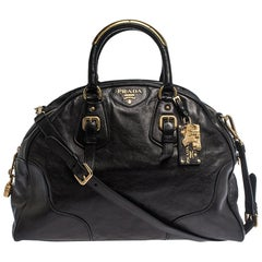 Prada Black Glace Calf Leather Dome Satchel