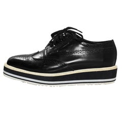 Prada Black Glazed Leather Brogues Platform Oxford Sz 38 with DB