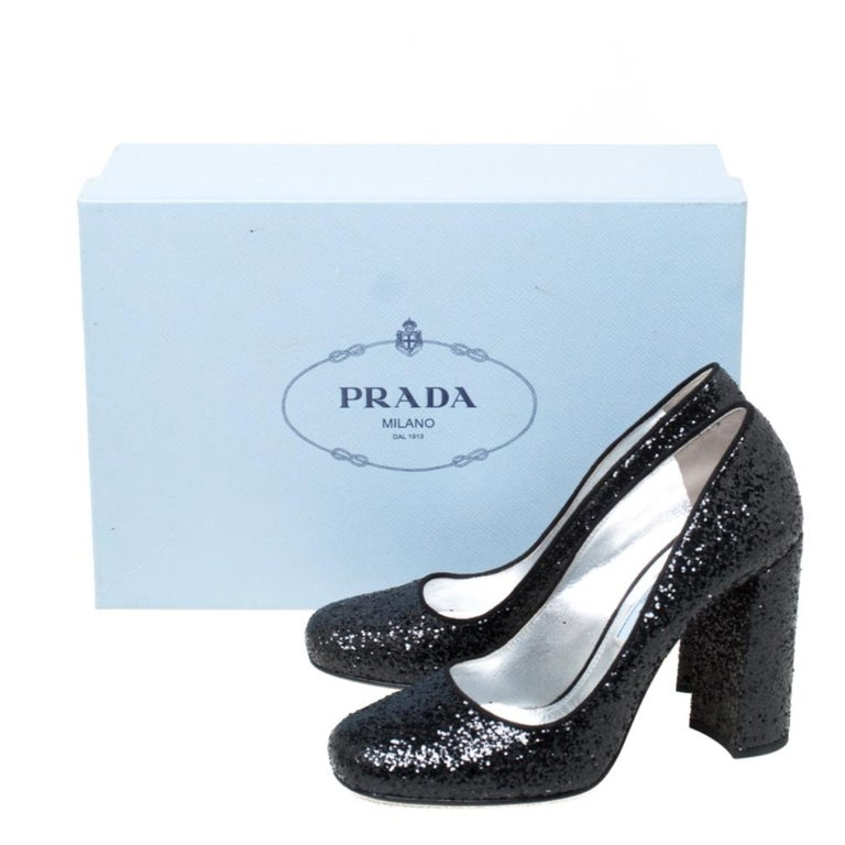 Prada Black Glitter Block Heel Pumps Size 36 For Sale 4