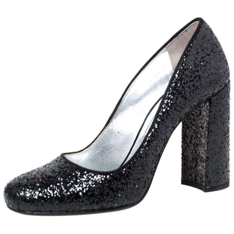 Prada Black Glitter Block Heel Pumps Size 36 For Sale