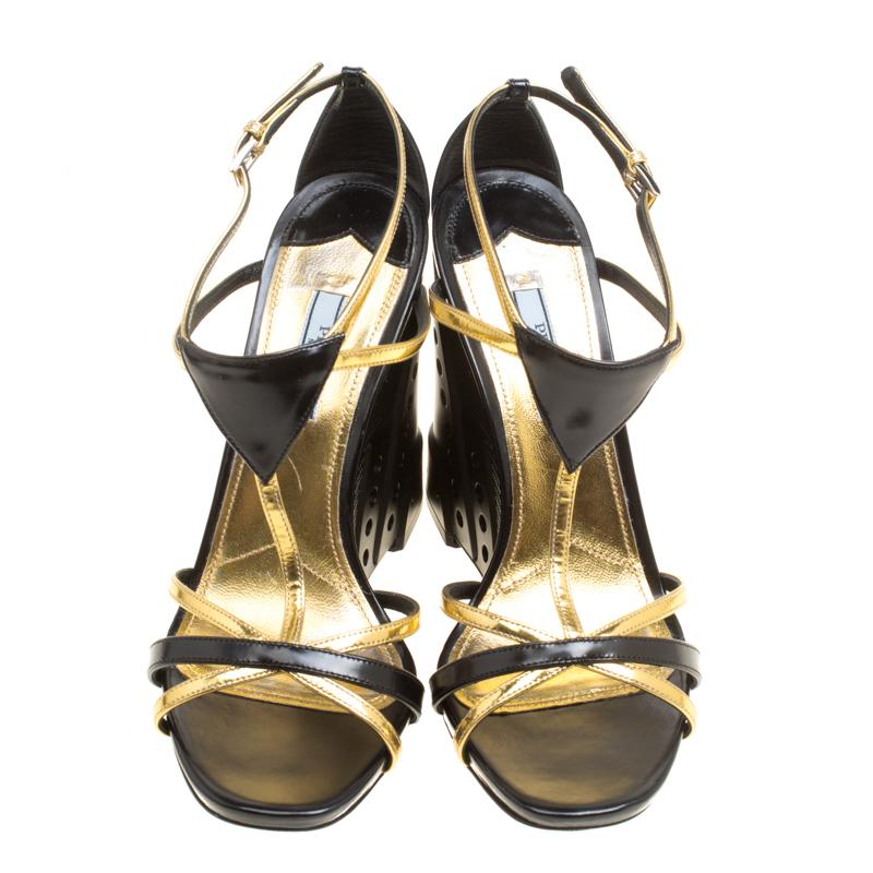 4c30cba3112a Prada Black Gold Leather Retro Futuristic Ankle Strap Geometric Wedge  Sandals Si For Sale at 1stdibs
