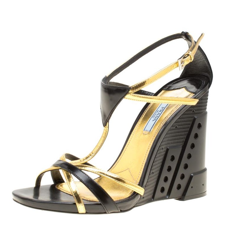 fd483bada31e37 Prada Black Gold Leather Retro Futuristic Ankle Strap Geometric Wedge  Sandals Si For Sale at 1stdibs