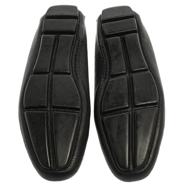 Prada Black Grained Leather Slip On Loafers Size 39 For Sale 1
