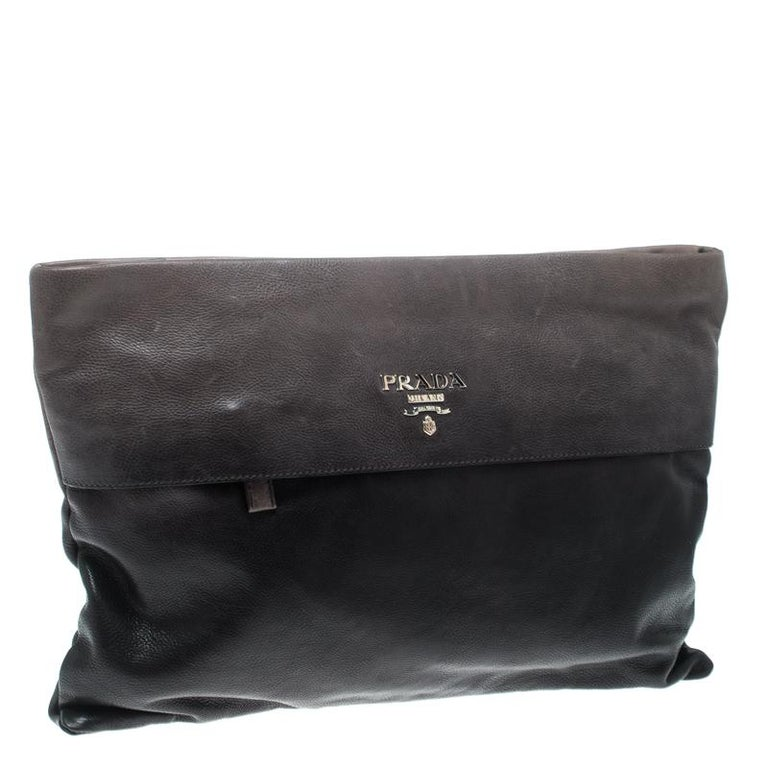a98ca572e4d5 Prada Black/Grey Ombre Glace Leather Folders Clutch In Good Condition For  Sale In Dubai
