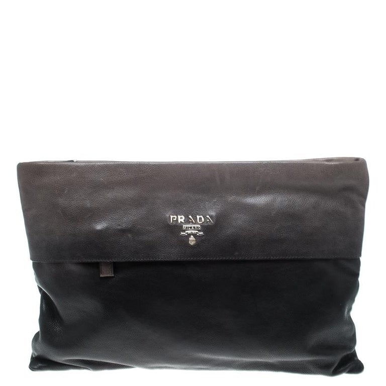 7f31482a5e81 Prada Black/Grey Ombre Glace Leather Folders Clutch For Sale at 1stdibs