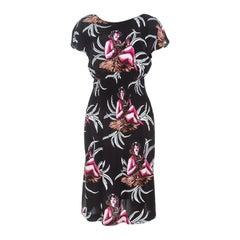 Prada Black Hawaiian Girl Print Elasticized Waist Dress S