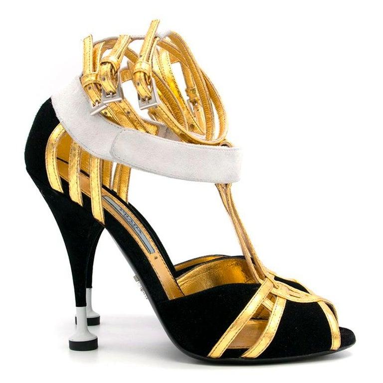 Prada Black Heels with Gold Straps  - Size EU 35.5 5