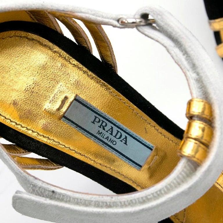 Beige Prada Black Heels with Gold Straps  - Size EU 35.5