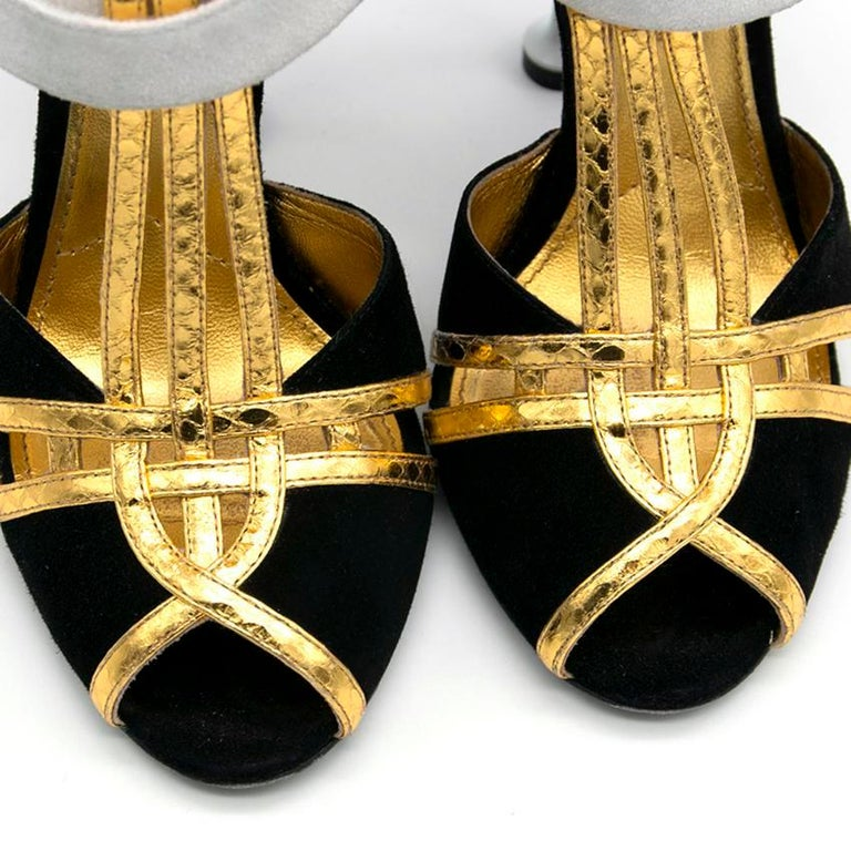 Prada Black Heels with Gold Straps  - Size EU 35.5 In Excellent Condition In London, GB