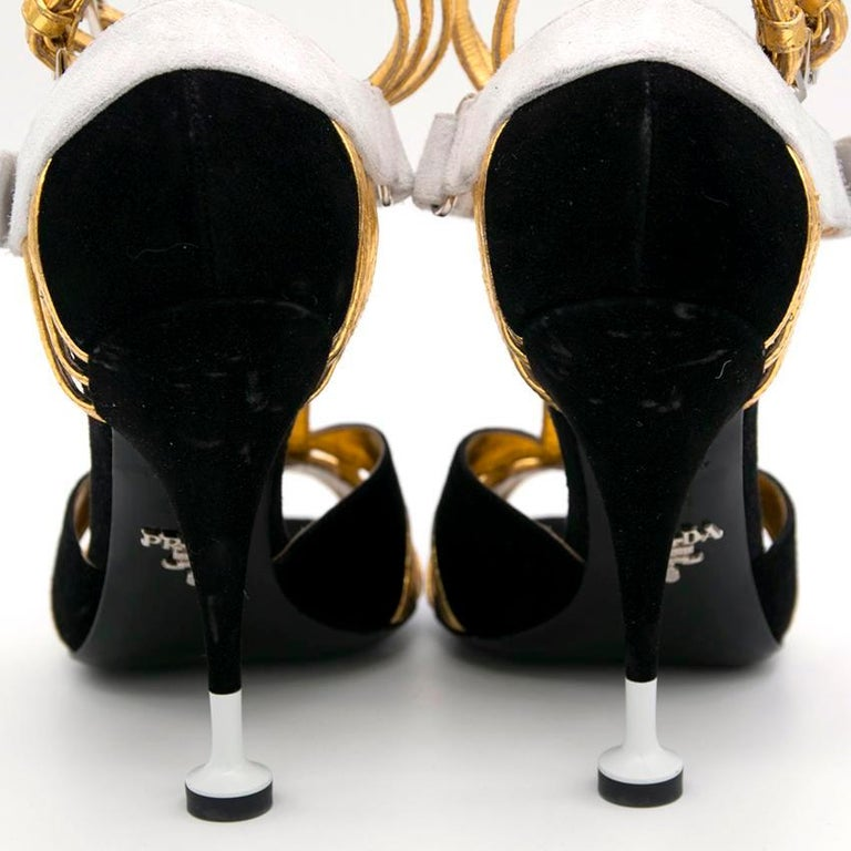 Prada Black Heels with Gold Straps  - Size EU 35.5 1