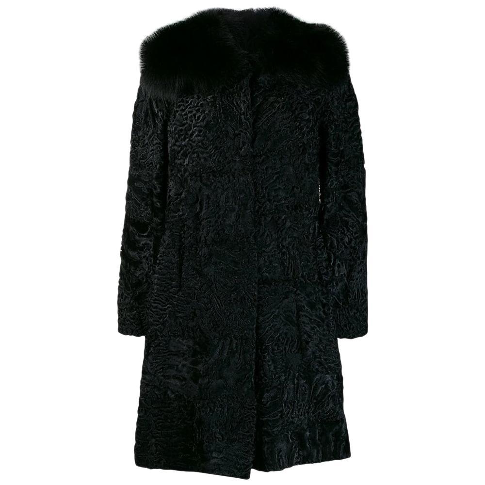 Prada Black Jacquard Astrakhan Coat