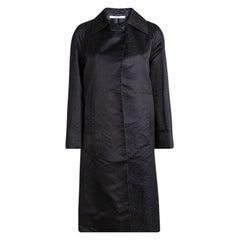 Prada Black Jacquard Silk Mini Leaf Pattern Overcoat S