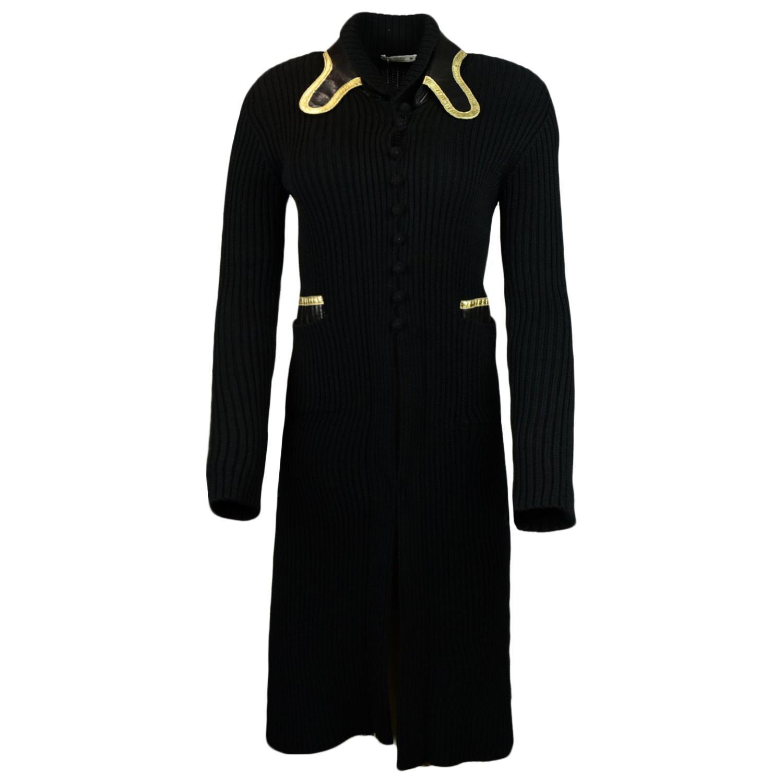 Prada Black Knit Long Cardigan Sweater w/ Black/Gold & Leather Trim IT38