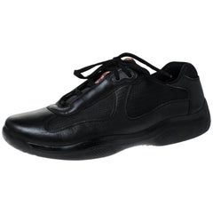 Prada Black Leather And Mesh America's Cup Lace Up Sneakers Size 43.5