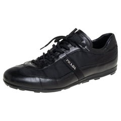 Prada Black Leather And Nylon Low Top Sneakers Size 42