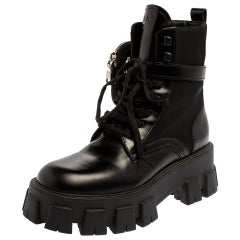 Prada Black Leather and Nylon Monolith Ankle Boots 37.5