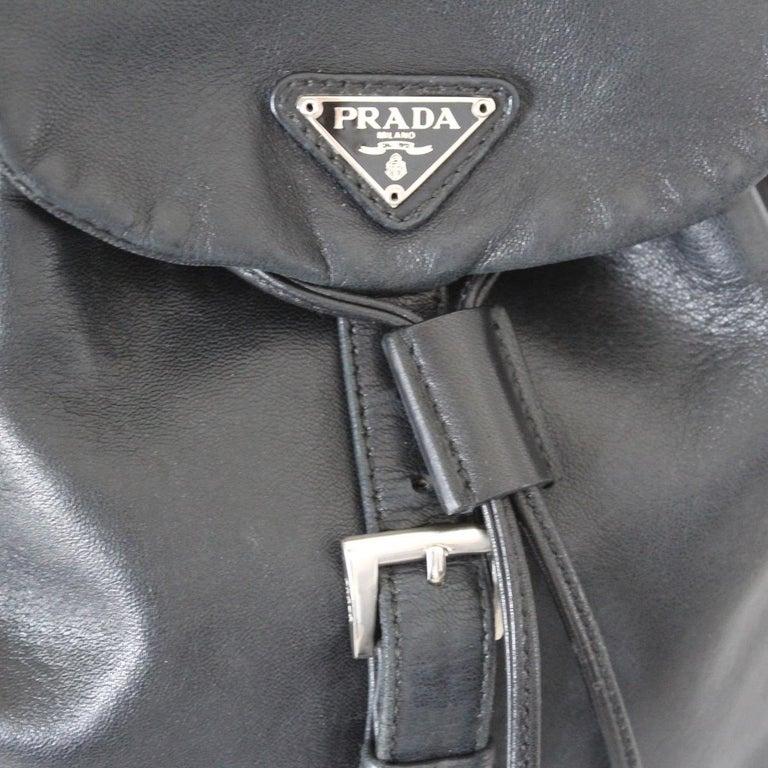 Prada Black Leather Backpack 1