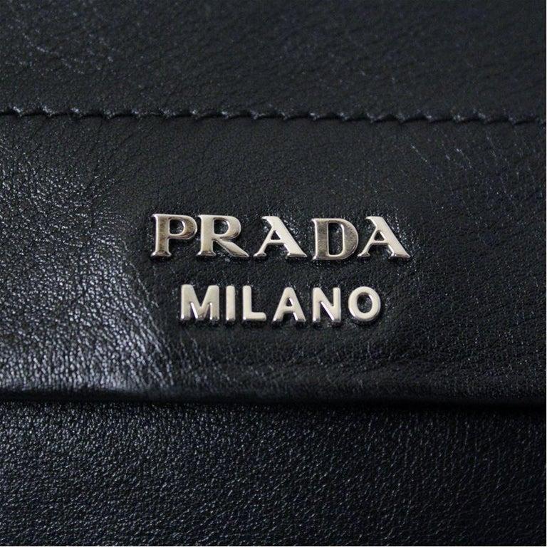 Prada Black Leather Bag For Sale 2