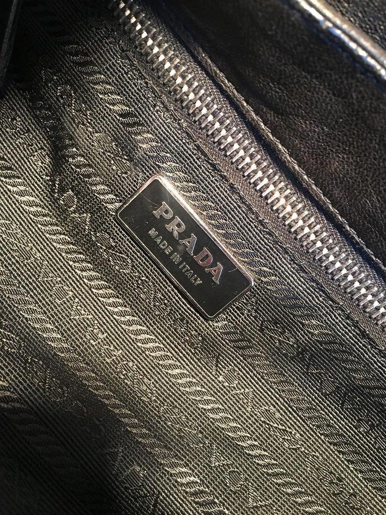 Prada Black Leather Bar Top Handle Convertible Handbag For Sale 6