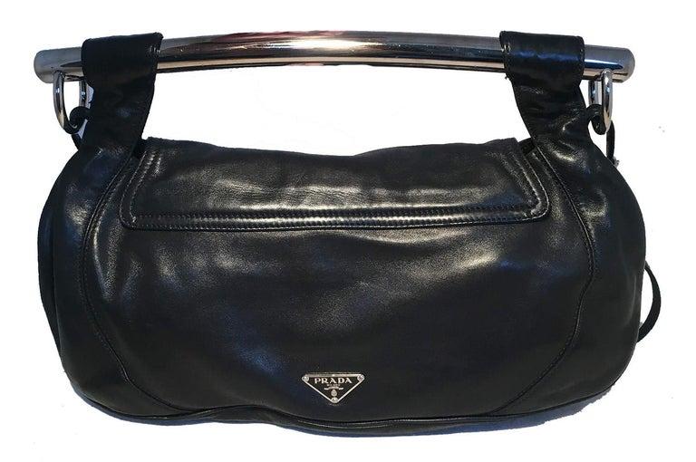 Women's Prada Black Leather Bar Top Handle Convertible Handbag For Sale