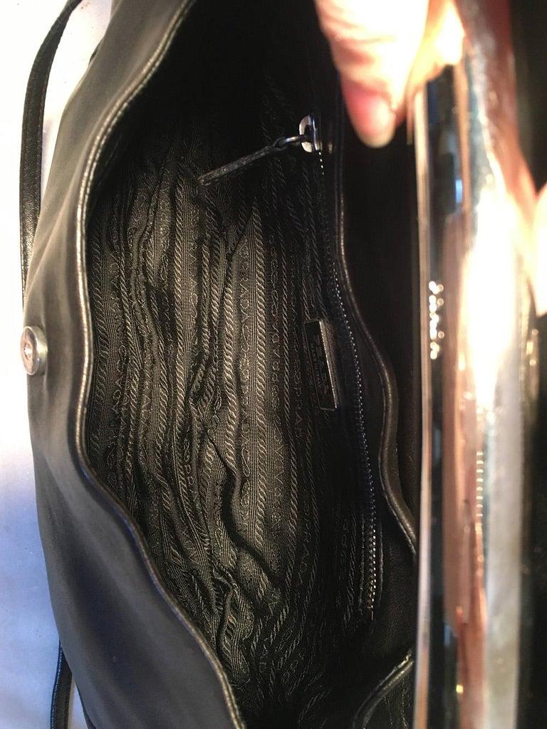 Prada Black Leather Bar Top Handle Convertible Handbag For Sale 5