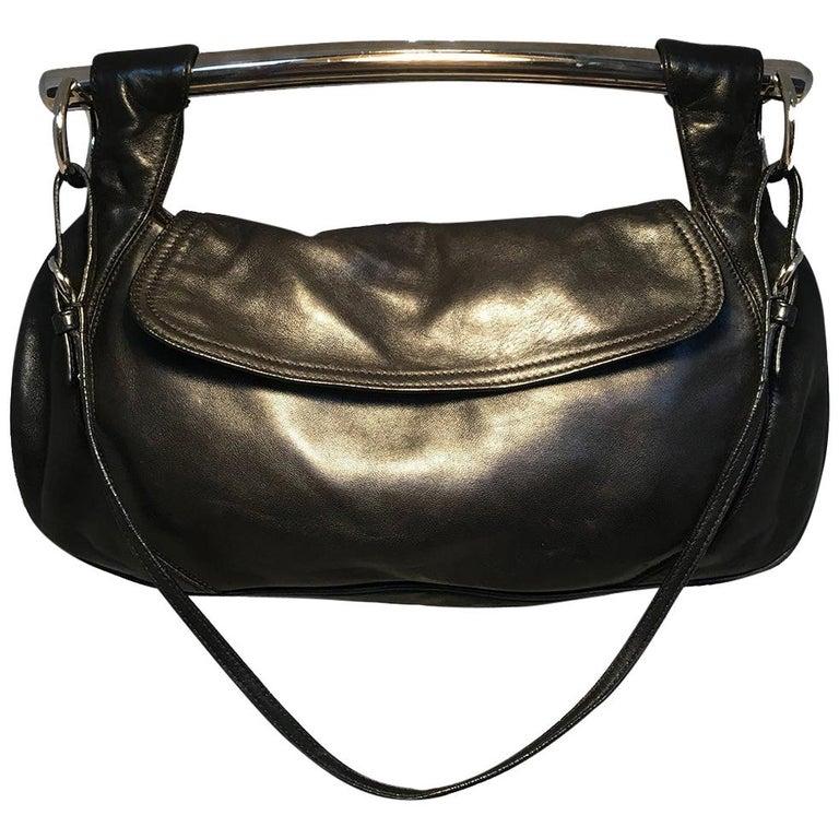 Prada Black Leather Bar Top Handle Convertible Handbag For Sale