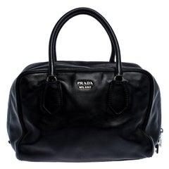 Prada Black Leather Bauletto Bag