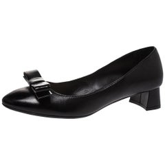 Prada Black Leather Bow Detail Block Heel Pumps Size 37.5