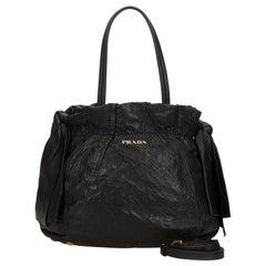 Prada Black Leather Bow Satchel