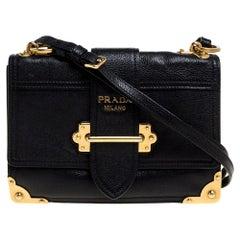 Prada Black Leather Cahier Flap Shoulder Bag