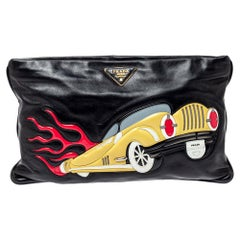 Prada Black Leather Car-Applique Clutch