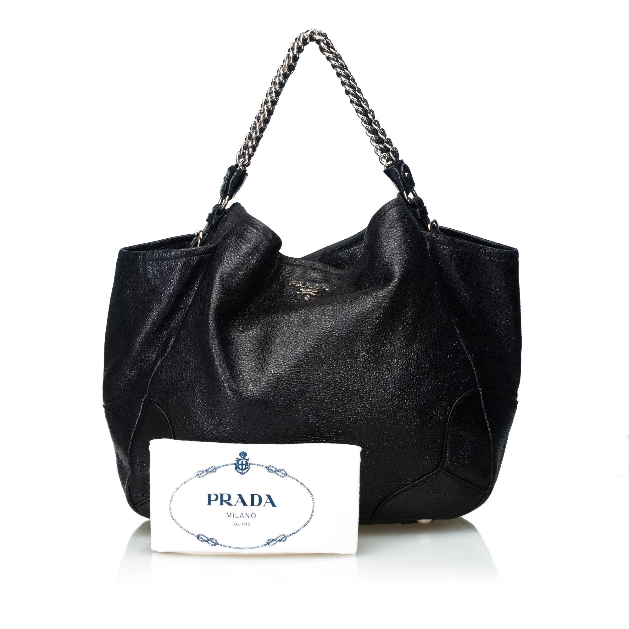 f6639556554d Prada Black Leather Cervo Lux Chain Tote Bag Italy w/ Dust Bag For Sale at  1stdibs