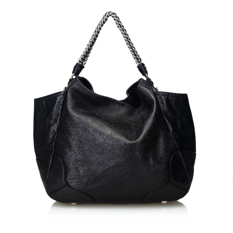 66e67c2f0ac6 Prada Black Leather Cervo Lux Chain Tote Bag Italy w/ Dust Bag In Good  Condition