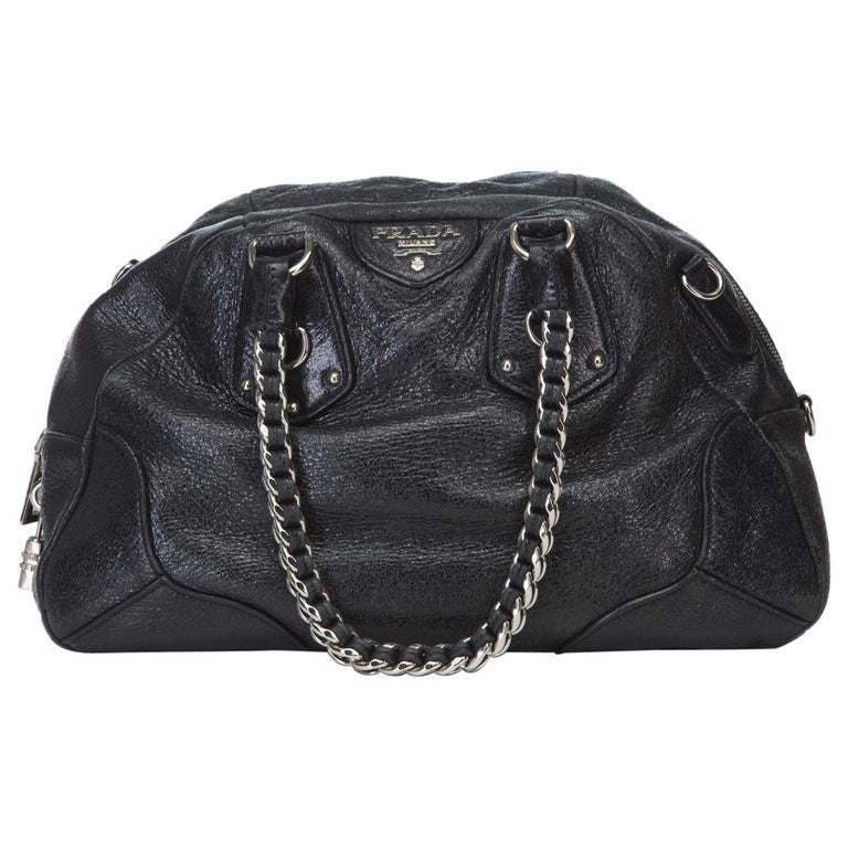 9c4bf2c8be43 Prada Black Leather Chain Shoulder Bag at 1stdibs