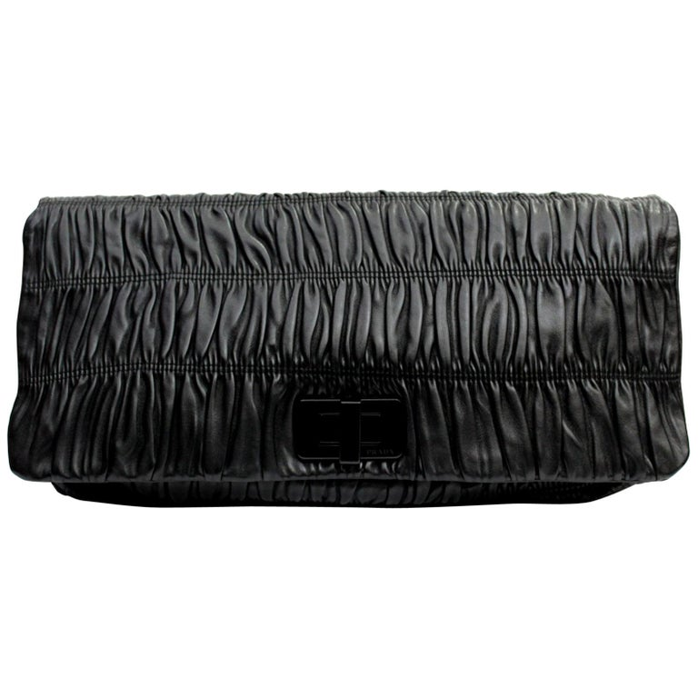 305ee8355cbe Prada Black Leather Clutch Bag For Sale at 1stdibs